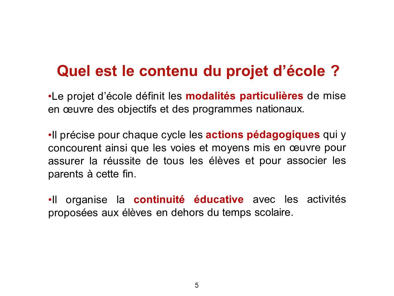 Quel est le contenu du projet d'école