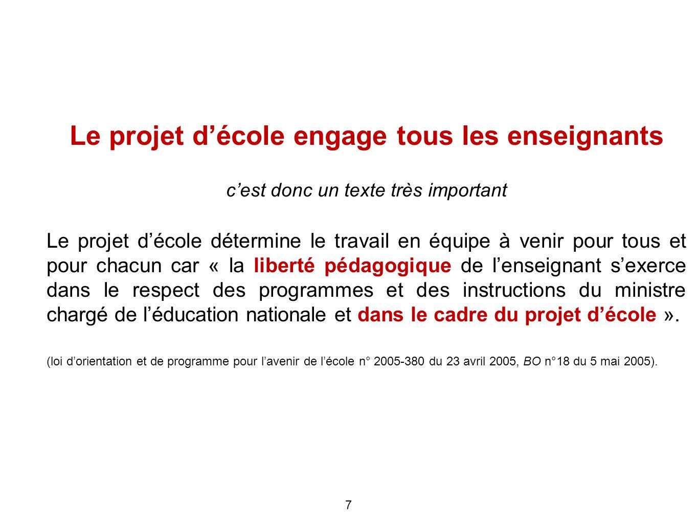 Le projet d'école engage tous les enseignants