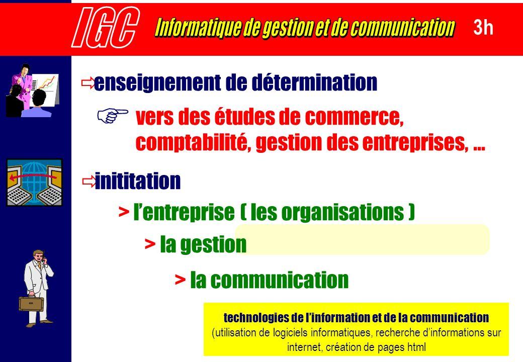 F IGC Informatique de gestion et de communication 3h