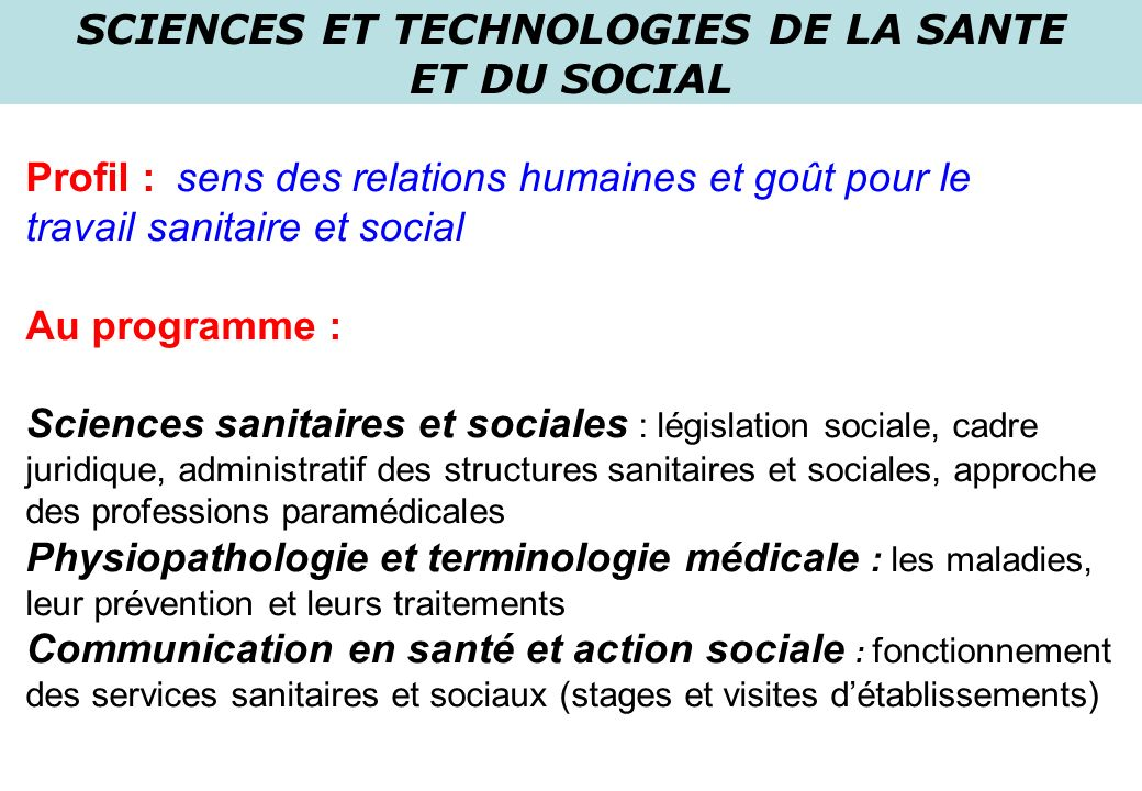 SCIENCES ET TECHNOLOGIES DE LA SANTE