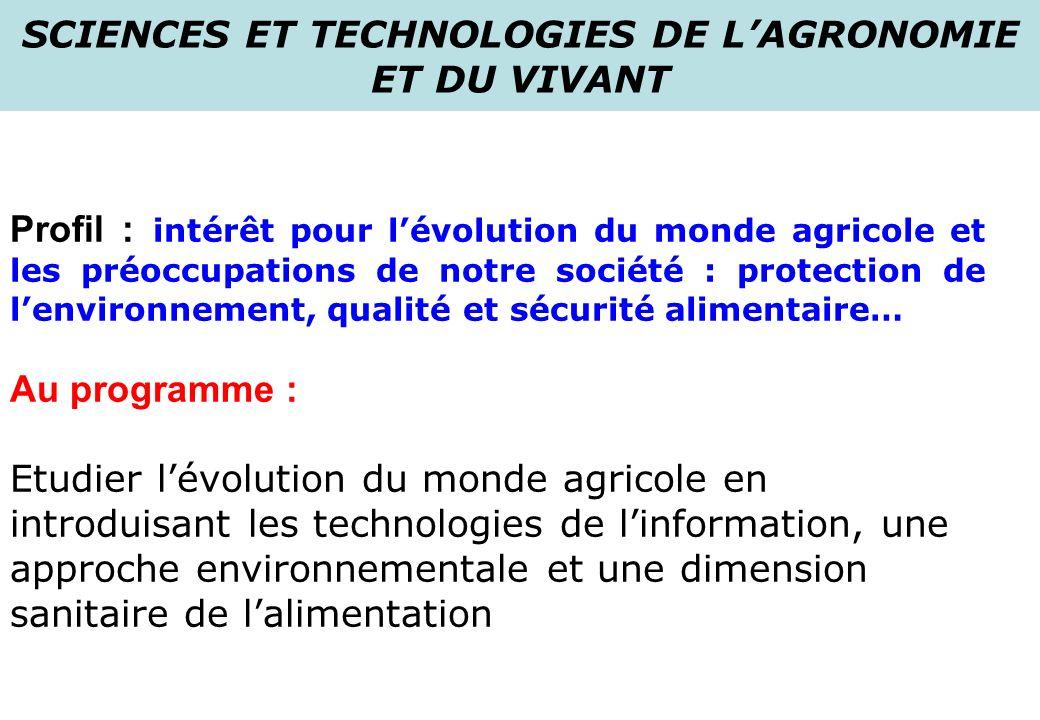 SCIENCES ET TECHNOLOGIES DE L'AGRONOMIE ET DU VIVANT