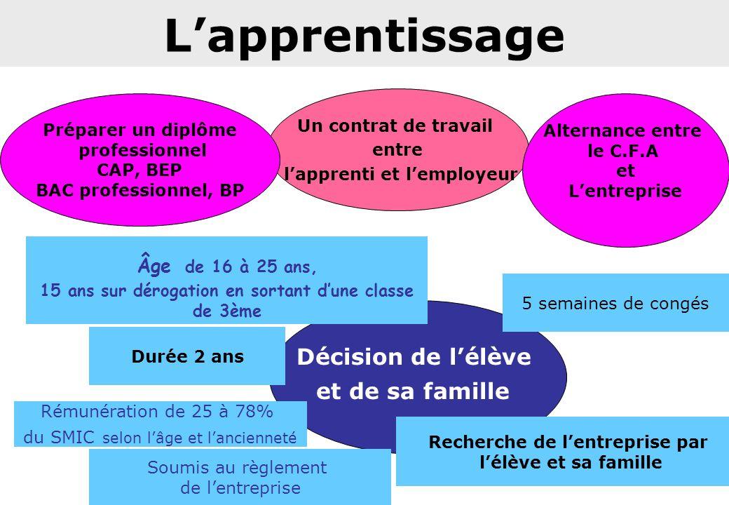 L'apprentissage Décision de l'élève et de sa famille