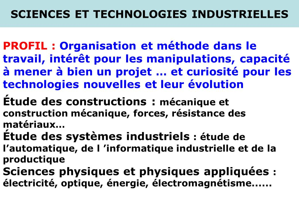 SCIENCES ET TECHNOLOGIES INDUSTRIELLES