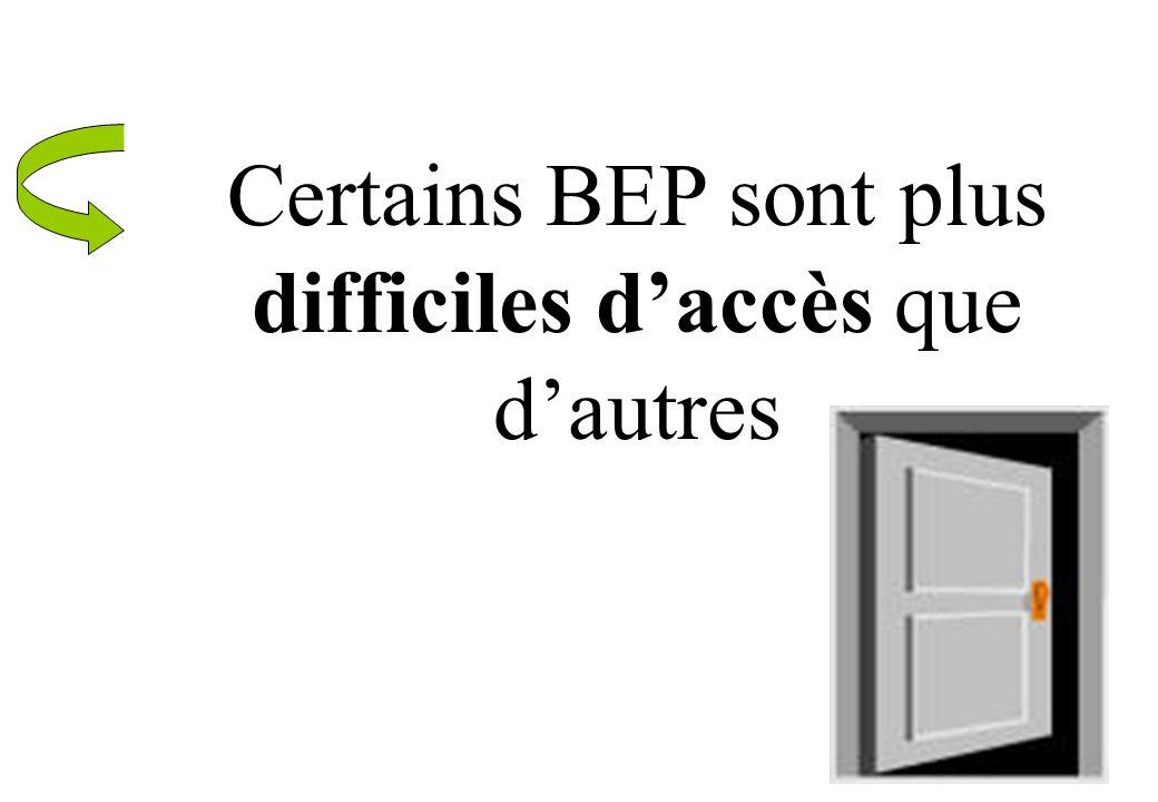 Certains BEP sont plus difficiles d'accès que d'autres