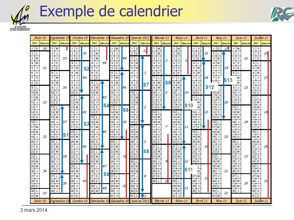 Exemple de calendrier S2 S13 S9 S7 S12 S4 S10 S6 S3 S1 S8 S11 S5