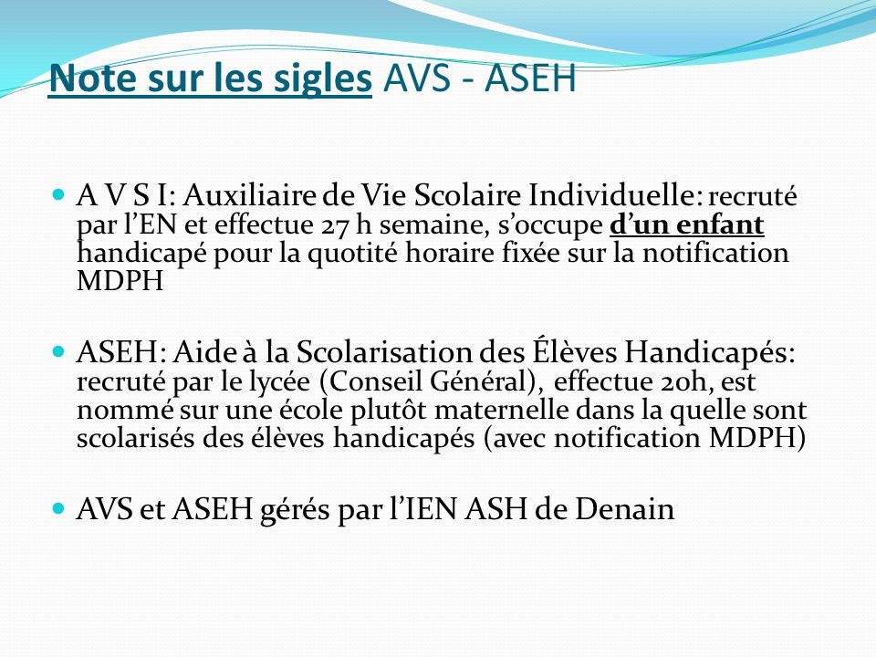 Note sur les sigles AVS - ASEH