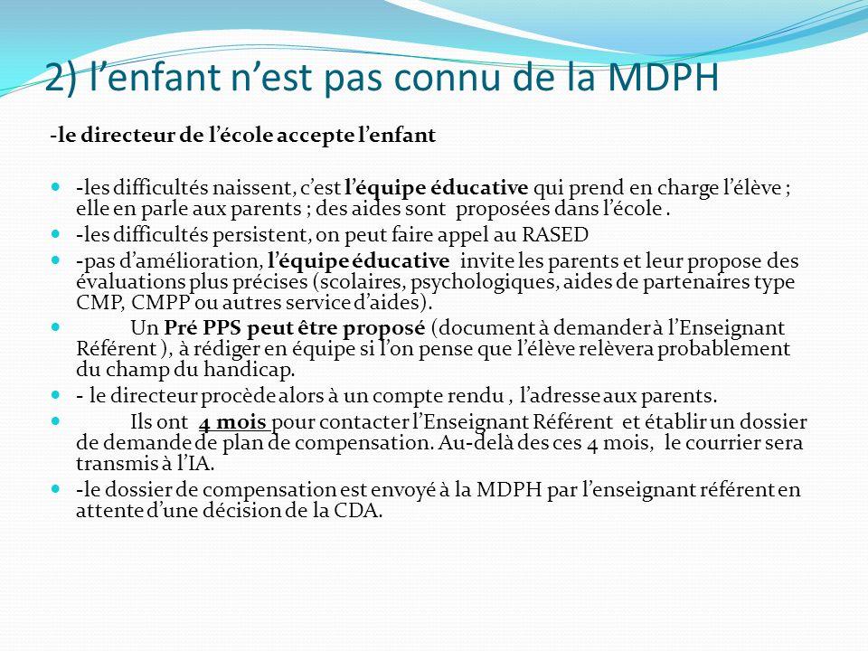 2) l'enfant n'est pas connu de la MDPH