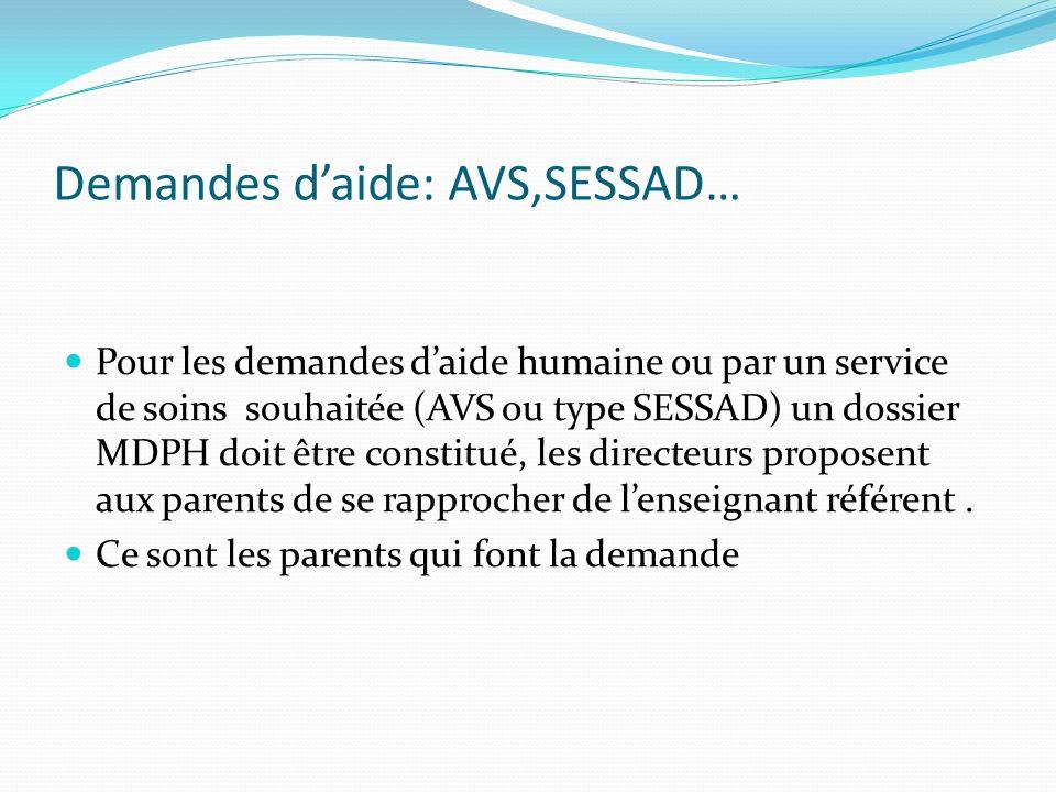 Demandes d'aide: AVS,SESSAD…