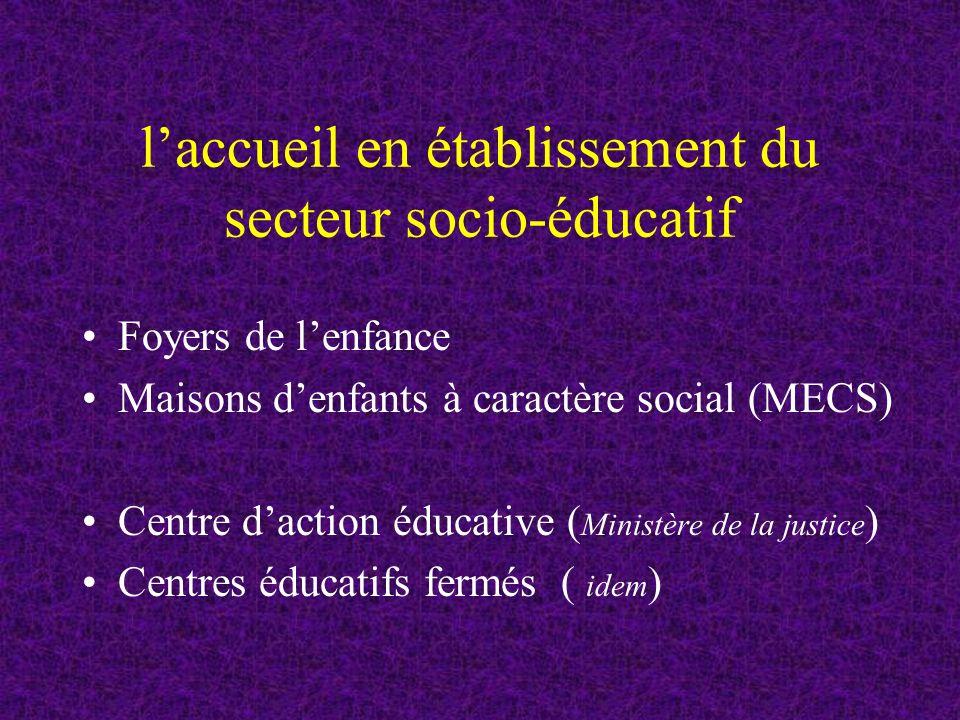 l'accueil en établissement du secteur socio-éducatif