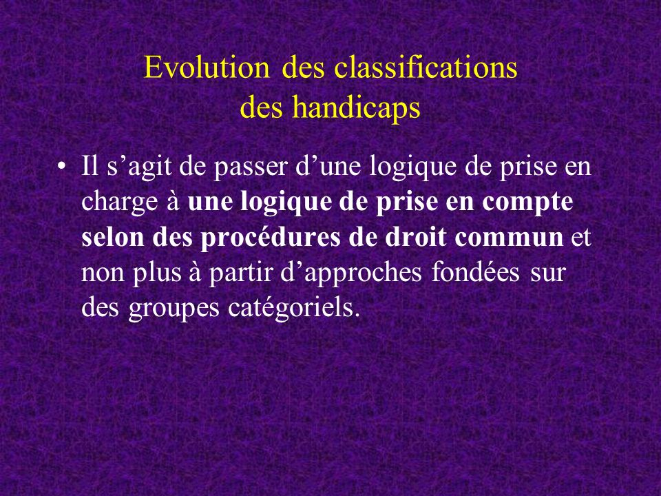 Evolution des classifications des handicaps