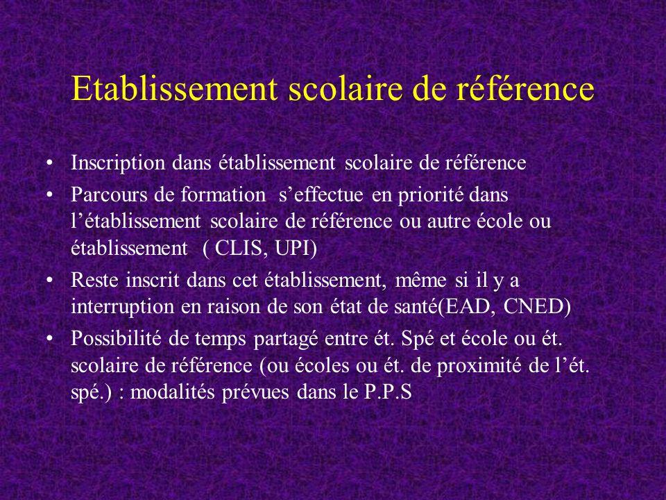 Etablissement scolaire de référence
