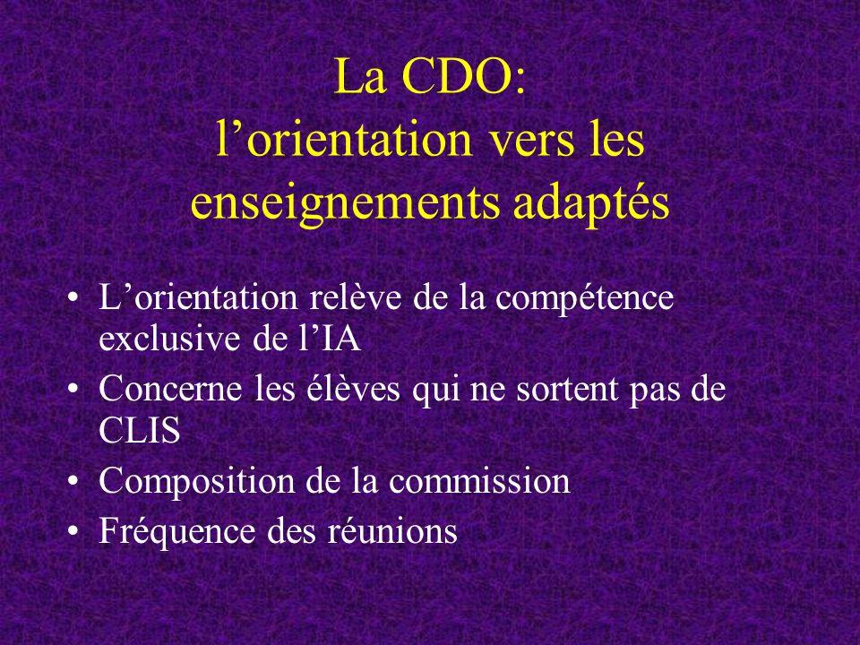 La CDO: l'orientation vers les enseignements adaptés