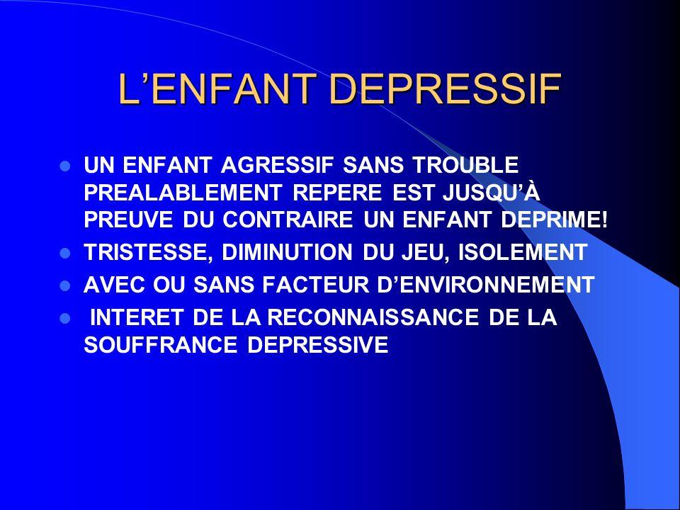 L'ENFANT DEPRESSIF UN ENFANT AGRESSIF SANS TROUBLE PREALABLEMENT REPERE EST JUSQU'À PREUVE DU CONTRAIRE UN ENFANT DEPRIME!