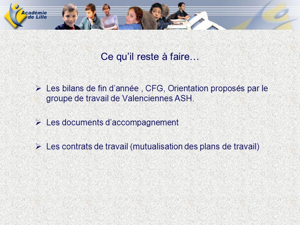 Ce qu'il reste à faire… Les bilans de fin d'année , CFG, Orientation proposés par le groupe de travail de Valenciennes ASH.