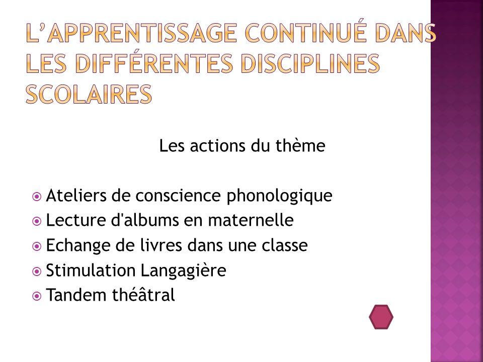 L'apprentissage continué dans les différentes disciplines scolaires