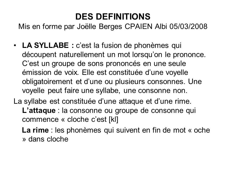 DES DEFINITIONS Mis en forme par Joëlle Berges CPAIEN Albi 05/03/2008