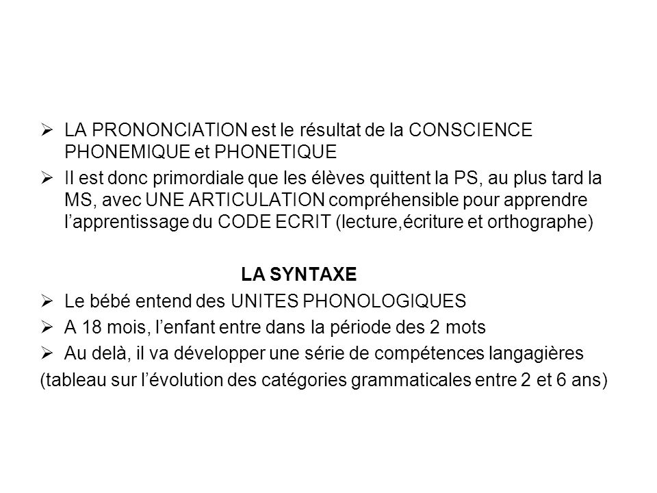 LA PRONONCIATION est le résultat de la CONSCIENCE PHONEMIQUE et PHONETIQUE