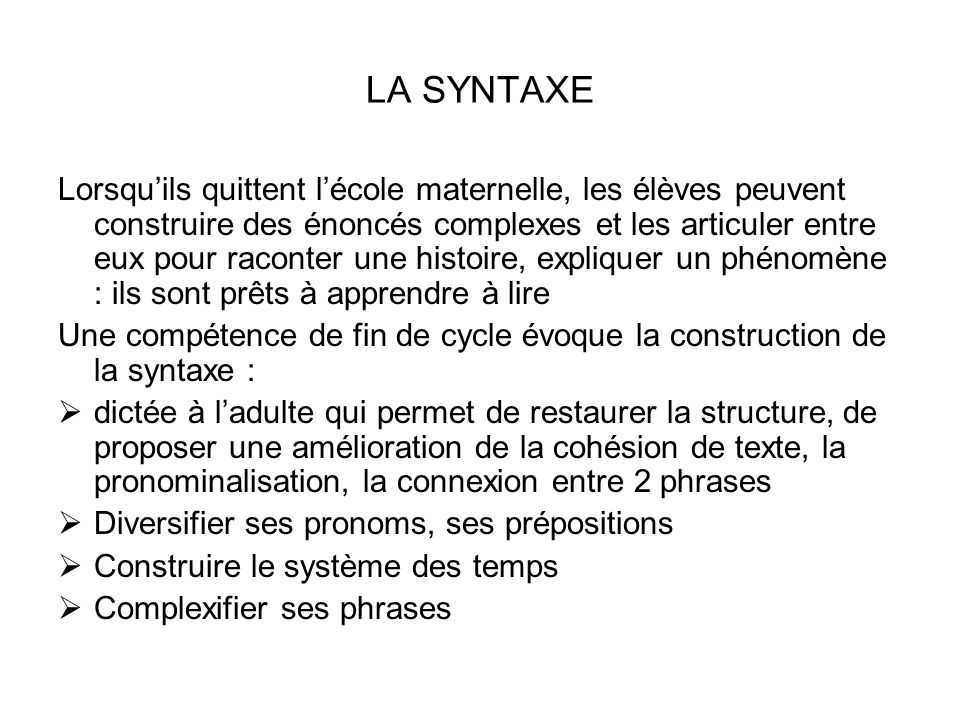 LA SYNTAXE