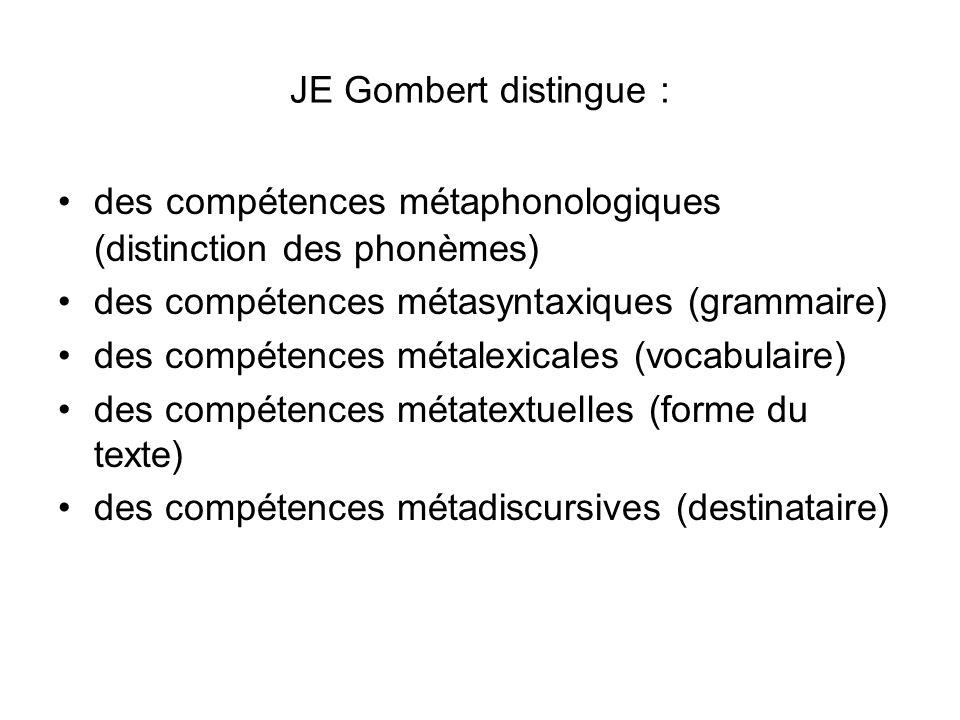 JE Gombert distingue : des compétences métaphonologiques (distinction des phonèmes) des compétences métasyntaxiques (grammaire)