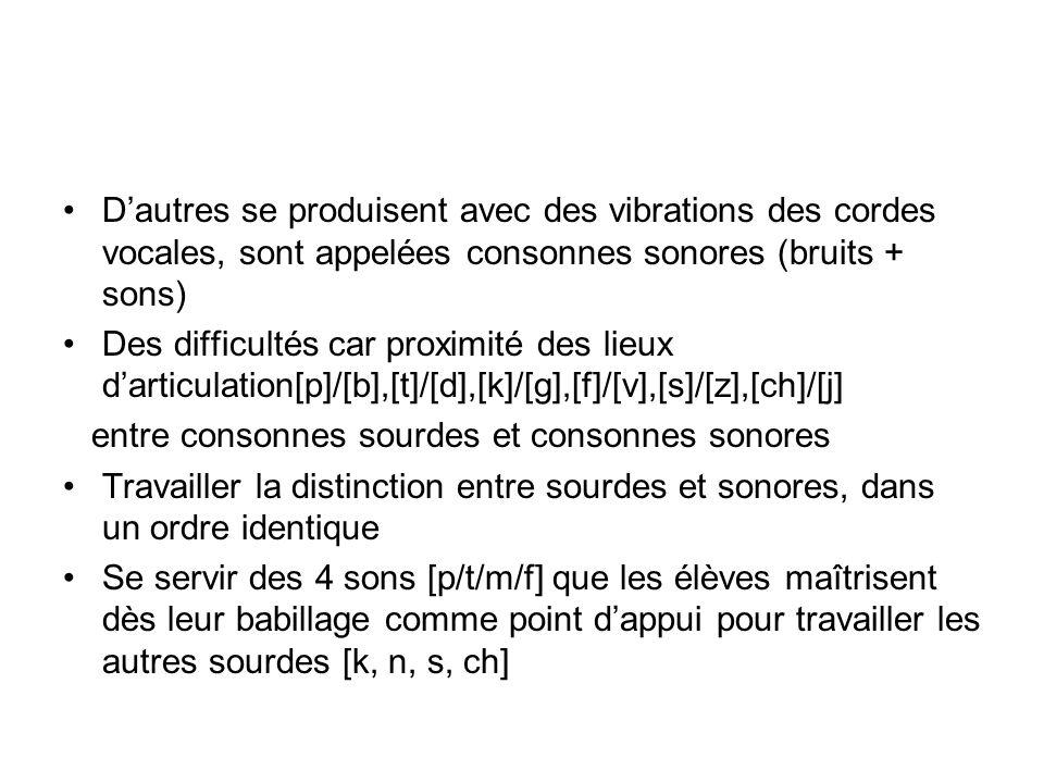 D'autres se produisent avec des vibrations des cordes vocales, sont appelées consonnes sonores (bruits + sons)