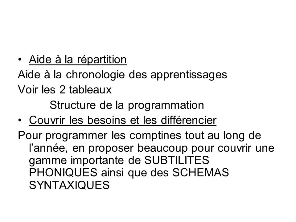 Aide à la répartition Aide à la chronologie des apprentissages. Voir les 2 tableaux. Structure de la programmation.