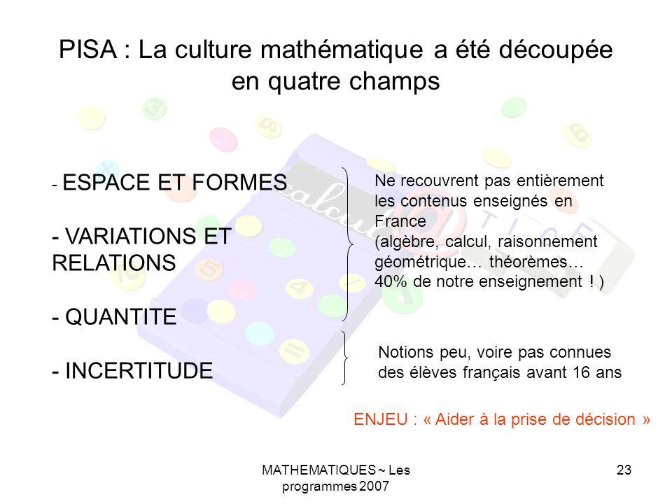 PISA : La culture mathématique a été découpée en quatre champs