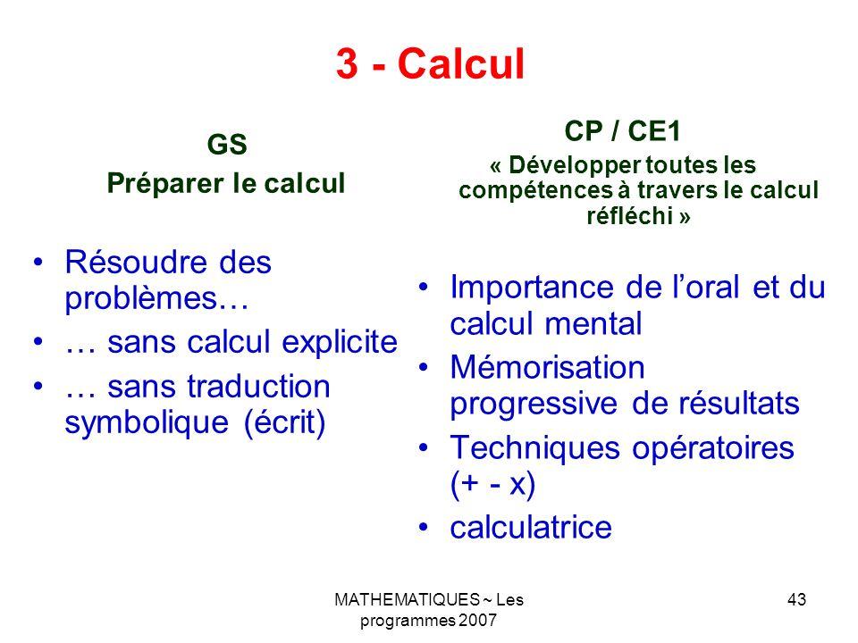 « Développer toutes les compétences à travers le calcul réfléchi »
