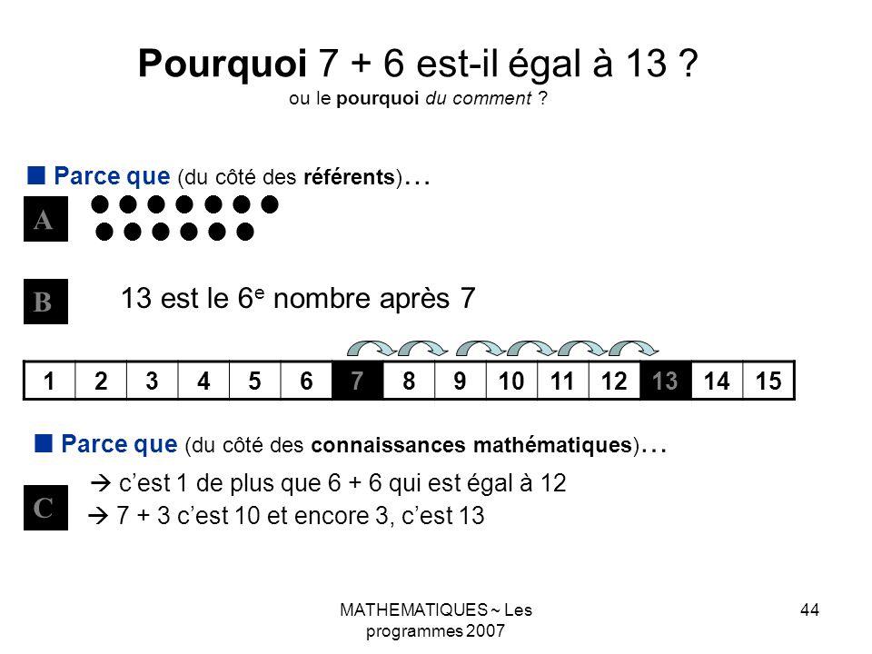 Pourquoi 7 + 6 est-il égal à 13 ou le pourquoi du comment