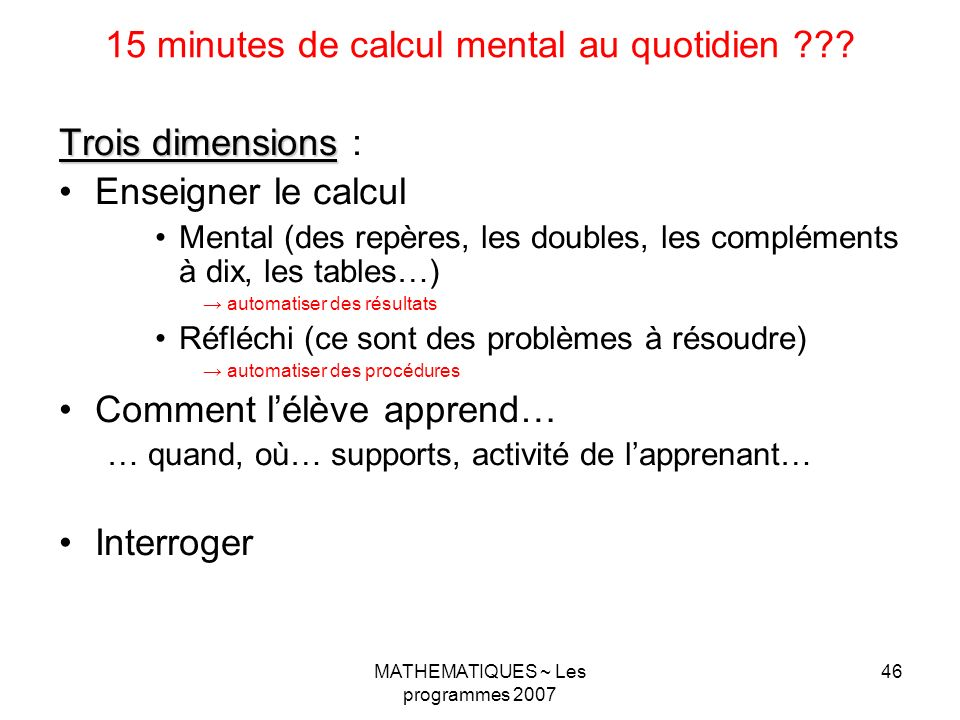 15 minutes de calcul mental au quotidien