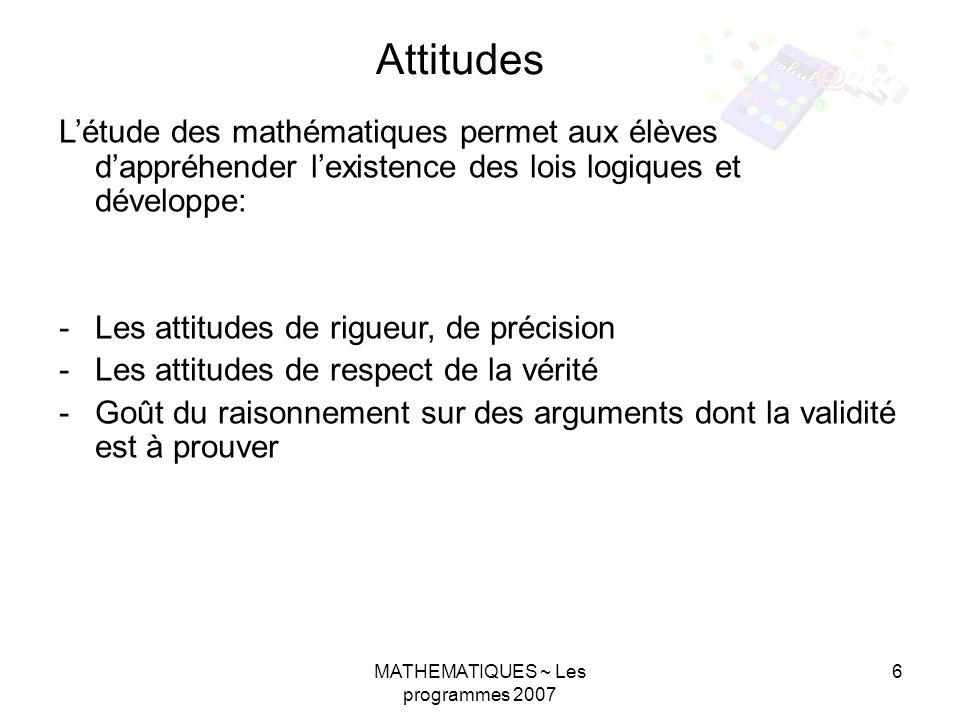 MATHEMATIQUES ~ Les programmes 2007