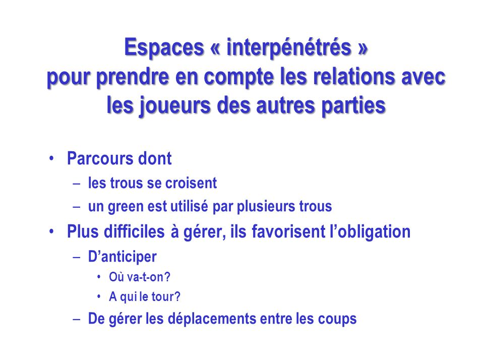 Espaces « interpénétrés » pour prendre en compte les relations avec les joueurs des autres parties