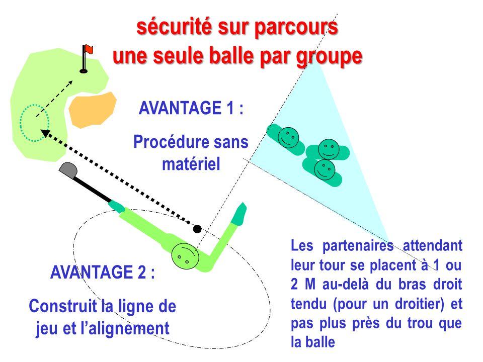 sécurité sur parcours une seule balle par groupe