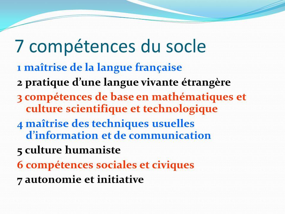 7 compétences du socle
