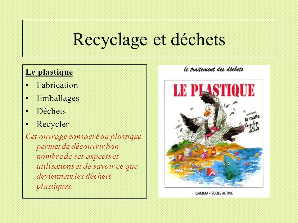 Recyclage et déchets Le plastique Fabrication Emballages Déchets
