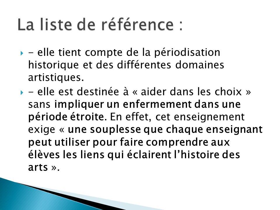 La liste de référence : - elle tient compte de la périodisation historique et des différentes domaines artistiques.