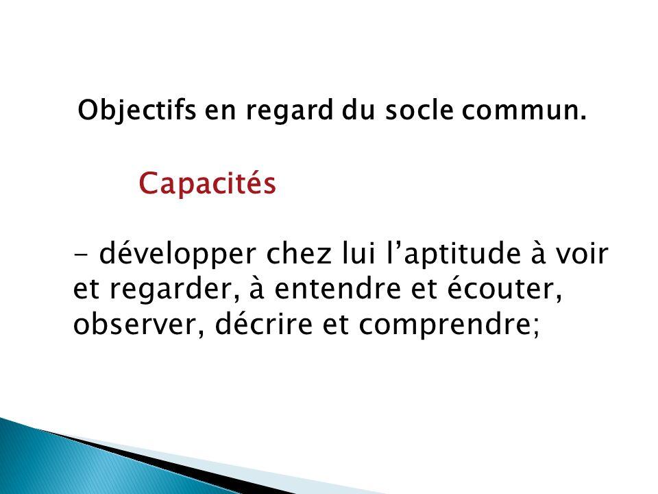 Objectifs en regard du socle commun.