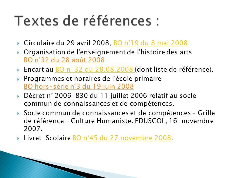 Textes de références : Circulaire du 29 avril 2008, BO n°19 du 8 mai 2008.