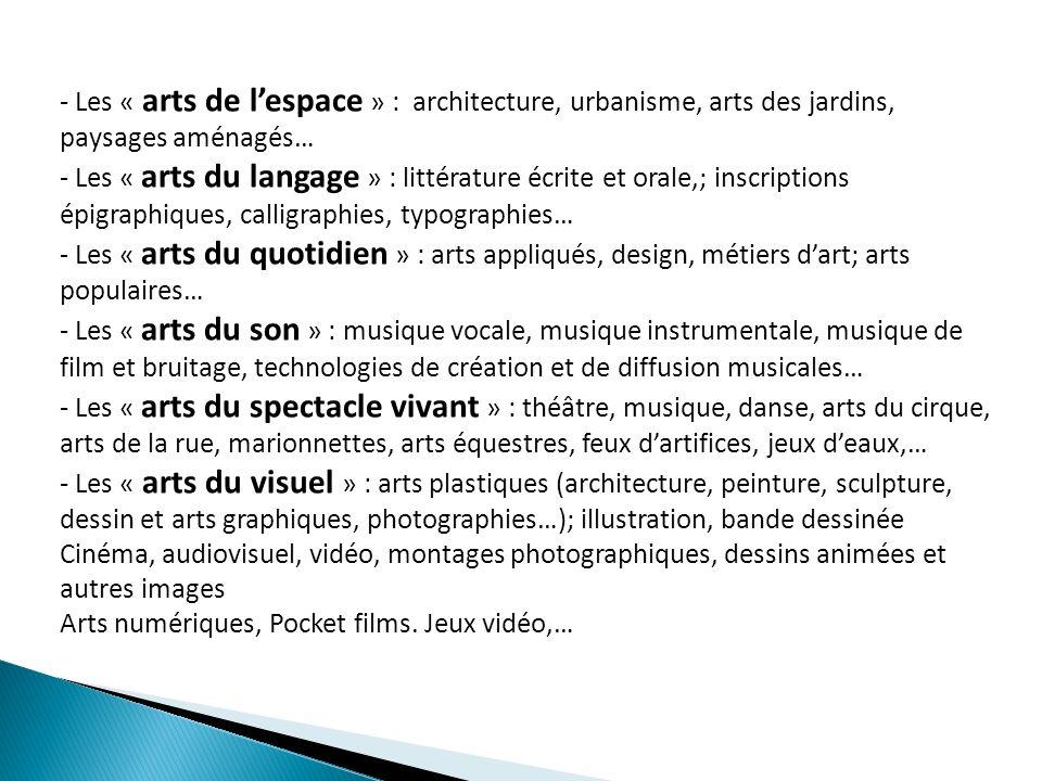 - Les « arts de l'espace » : architecture, urbanisme, arts des jardins, paysages aménagés…