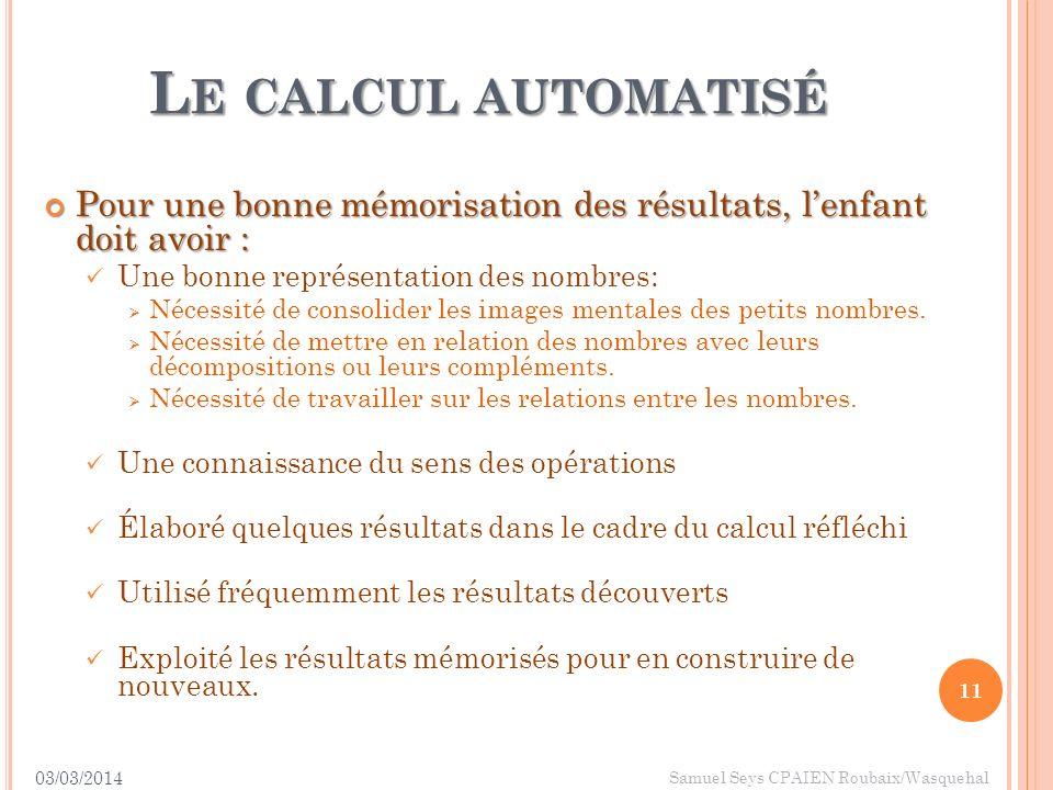 Le calcul automatisé Pour une bonne mémorisation des résultats, l'enfant doit avoir : Une bonne représentation des nombres: