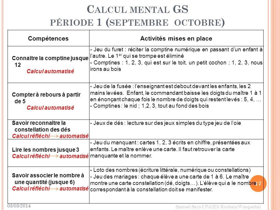 Calcul mental GS période 1 (septembre octobre)