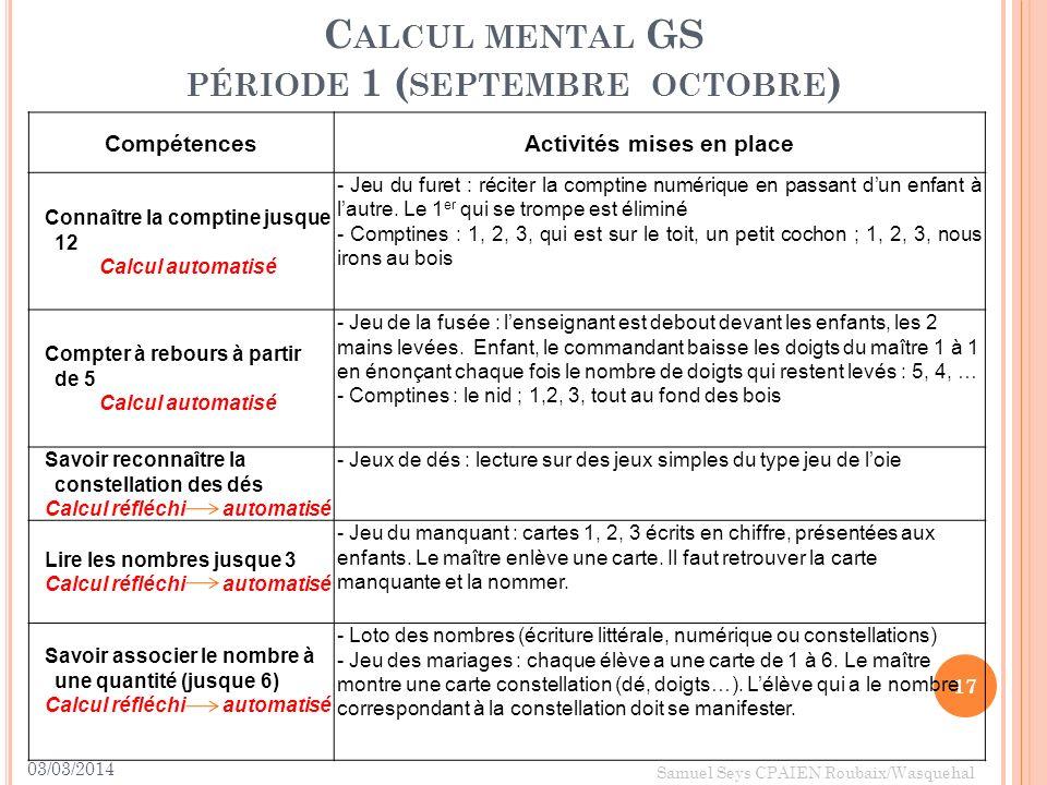 Calcul mental GS période 1 (septembre octobre)