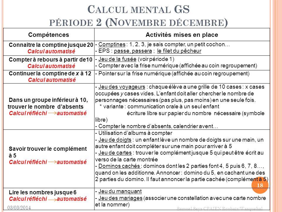 Calcul mental GS période 2 (Novembre décembre)