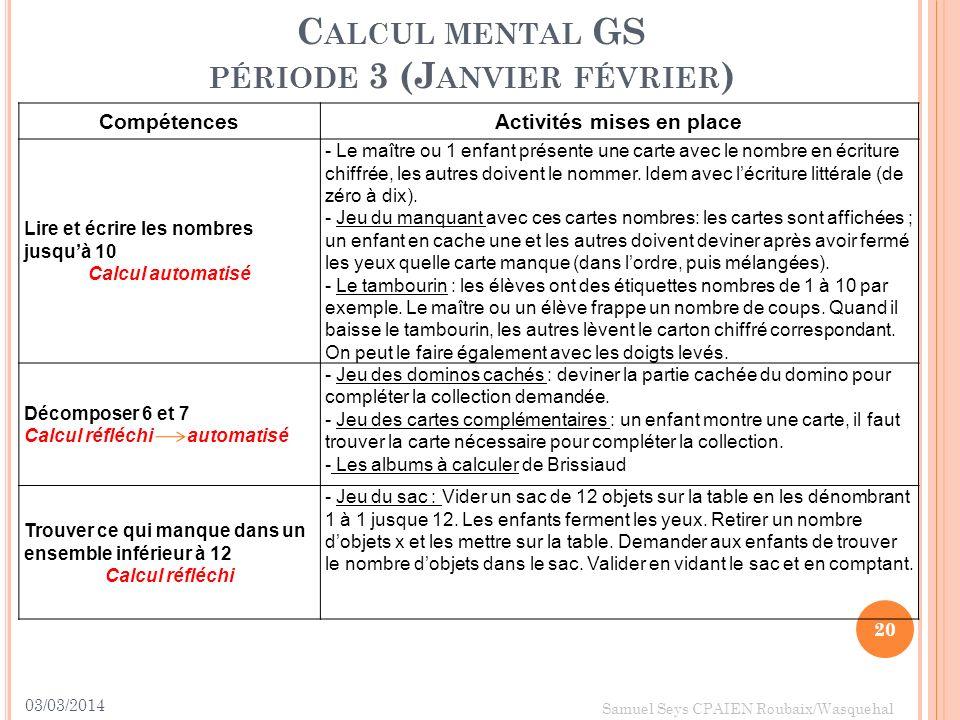 Calcul mental GS période 3 (Janvier février)