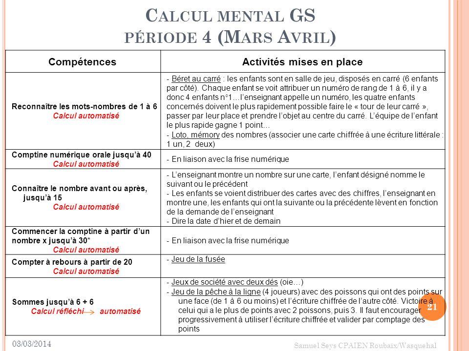 Calcul mental GS période 4 (Mars Avril)
