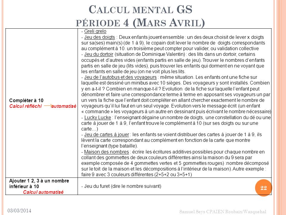 Calcul mental GS période 4 (Mars Avril)