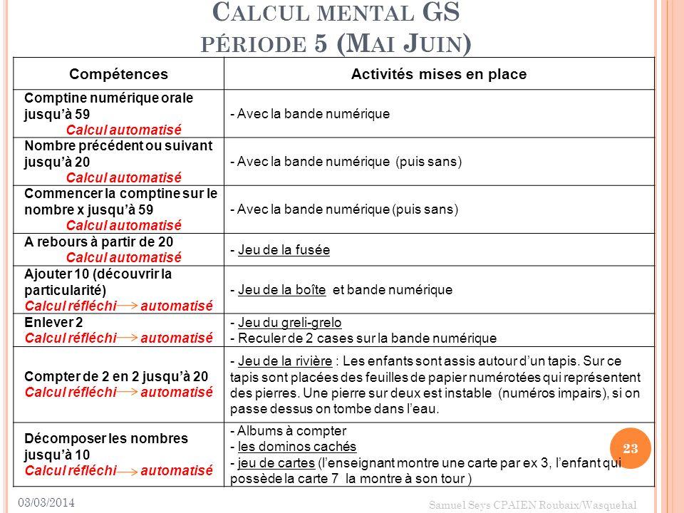 Calcul mental GS période 5 (Mai Juin)