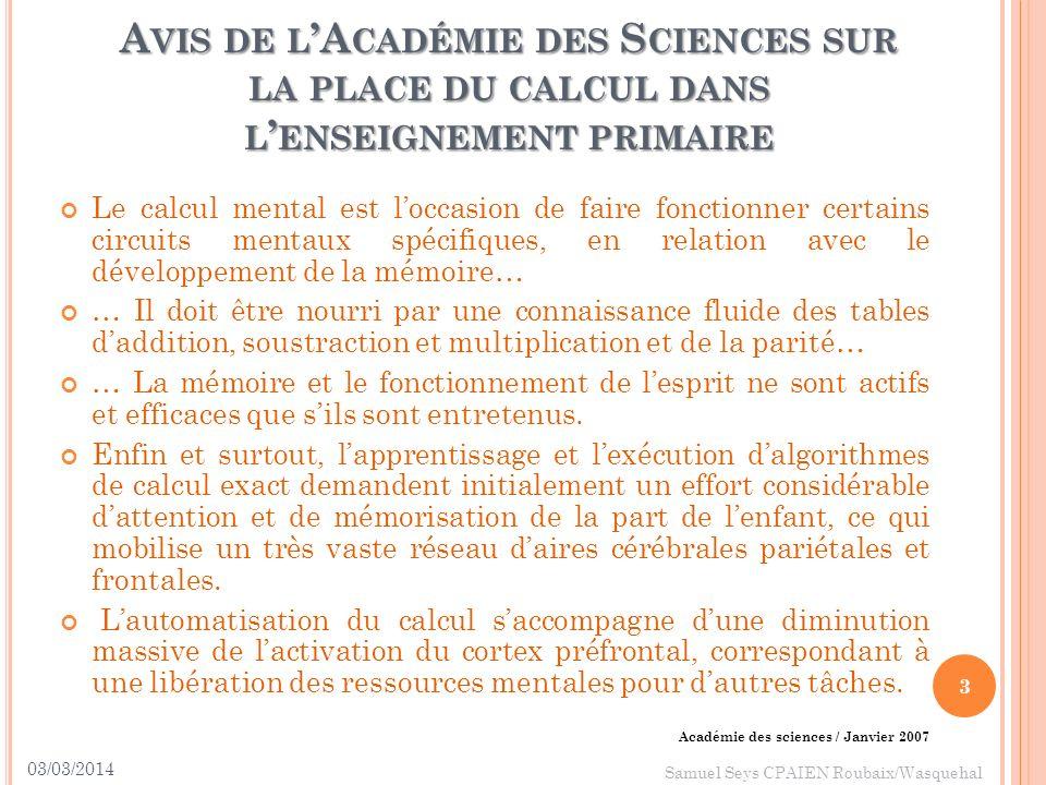 Avis de l'Académie des Sciences sur la place du calcul dans l'enseignement primaire