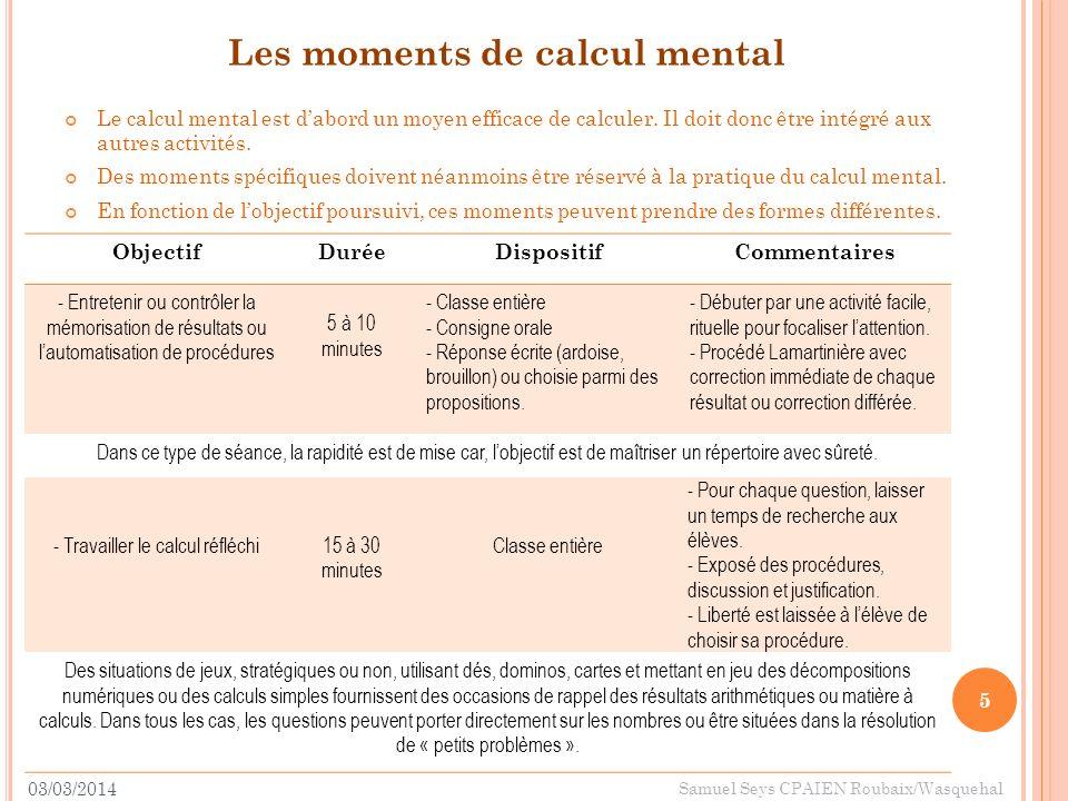 Les moments de calcul mental