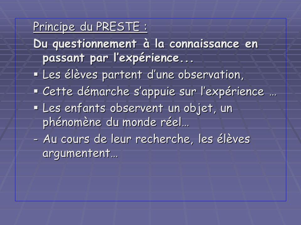 Principe du PRESTE : Du questionnement à la connaissance en passant par l'expérience... Les élèves partent d'une observation,