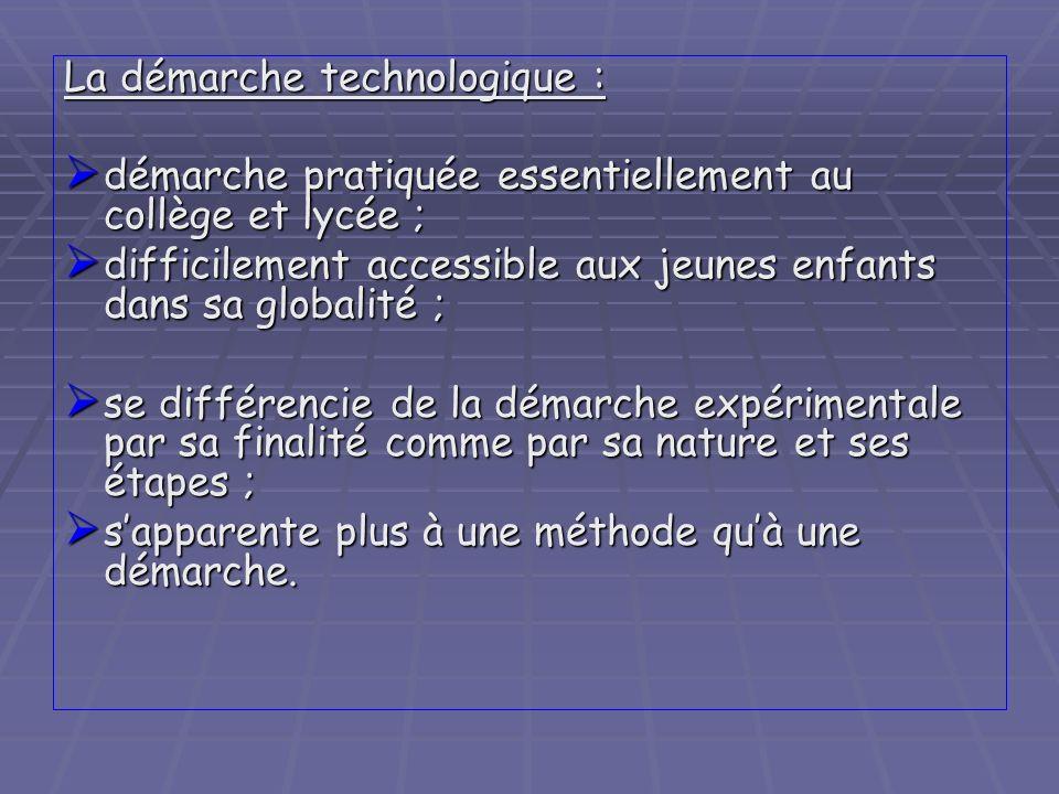 La démarche technologique :